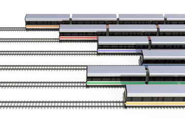 6色の電車のハイアングル