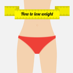 Woman figure underwear. How to lose waight measuring tape