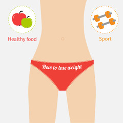 Woman figure underwear. Healthy food sport How to lose waight