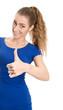 Junge Frau isoliert in Blau mit Daumen hoch