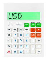 Calculator with USD on display on white background
