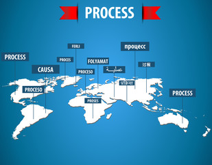 World map with process label in different languages