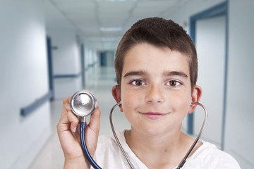 young doctor with stethoscope, people and professions