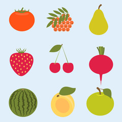 Flat modern design vector illustration of Fruit and Vegetables
