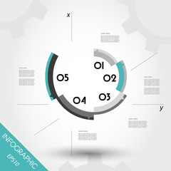 turquoise infographic template with axis