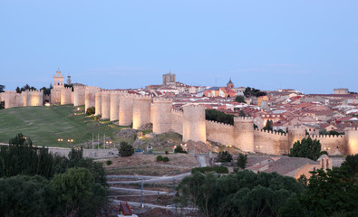 Medieval city walls of Avila. Castile and Leon, Spain