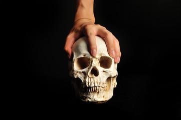 ドクロと人間の手