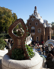 Entrance in Park Guell in Barcelona, Spain