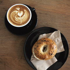 bagel with coffee