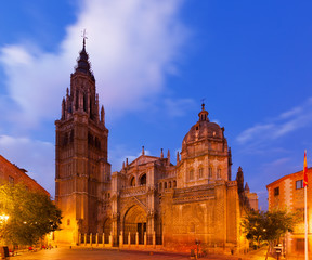 twilight view of Toledo Cathedral