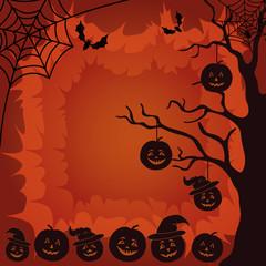 Halloween landscape, pumpkins, tree and spider