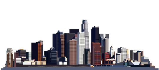 view of the big city, skyscrapers