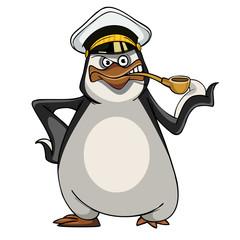 cartoon penguin in a sea captain's cap with a smoking pipe
