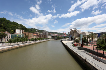 River Nervion in the city of Bilbao. Spain