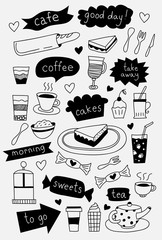 Hand drawn cafe icons with coffee tea cakes desserts and sweets