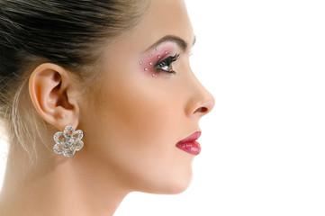 Model face, lips make-up, earring