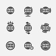 Set Of Globe Icons