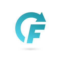 Letter F arrow logo icon design template elements.