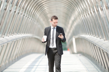 Businessman having a call during a break