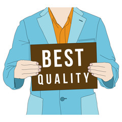 Business man holding best quality banner, vector format