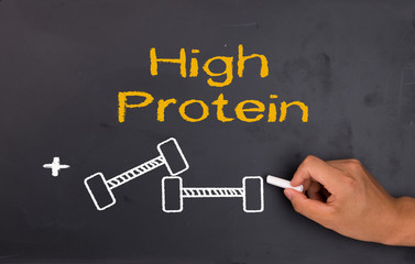 protein and bodybuilding concept