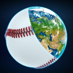baseball ball cover the planet earth. sports world