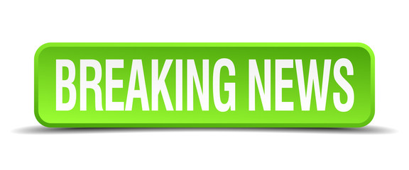 breaking news green 3d realistic square isolated button