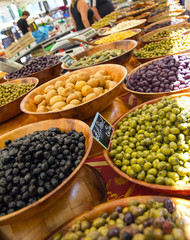 Asortment of olives on market stand, Ajaccio, France