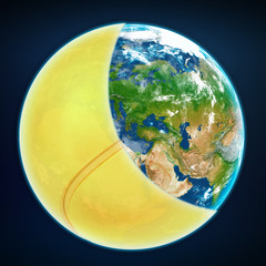 tennis ball cover the planet earth. sports world