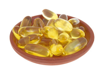 Cod Liver Oil Capsules In Small Dish