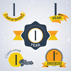 Retro vector stamps celebrating, 1 year of service, Anniversary