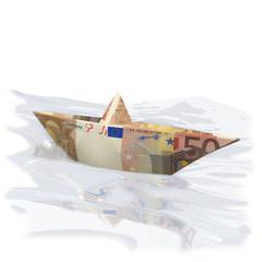 Papierschiffchen mit 50 Euro