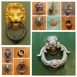 group of images with antique doorknockers, Tuscany