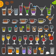 Retro-Stylized Minimalistic Icons of Alcoholic and Soft Drinks