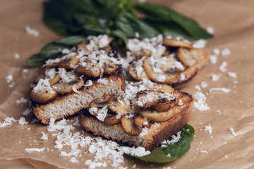 Delicious bruschetta with mushrooms