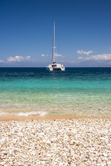 moored catamaran greece