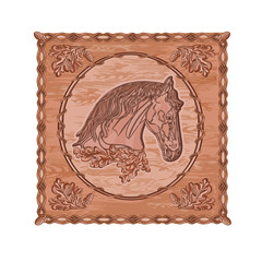 Horse and oak woodcarving hunting theme vintage vector
