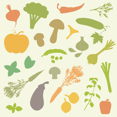 vector set silhouettes of vegetables, food icons