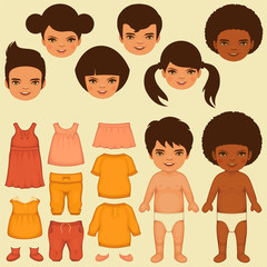 vector kids face, paper doll, isolated clothing