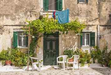 traditional house front, corfu town, greece