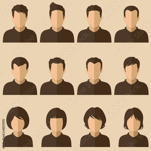 vector design of people avatars, flat user face icon - 68359311