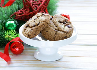 cookies with chocolate with Christmas tree branches