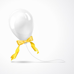 White balloon isolated on gray.