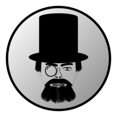 Retro man portrait in a top black hat button