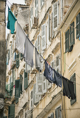 laundry airing on a greek street