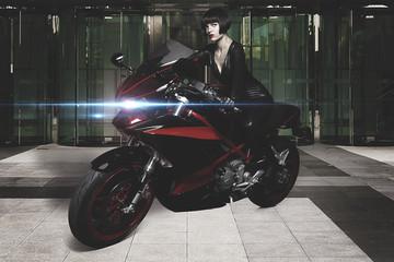 Urban biker, Sensual and Beautiful brunette woman on a motorcycl