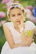Summer garden - beauty girl  in the flower garden
