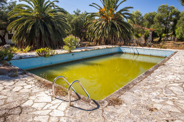 Putrid green water in abandoned swimming pool