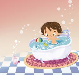 niño en la bañera