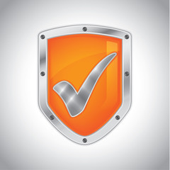 Security shield with check mark symbol icon